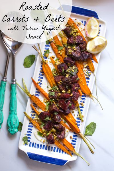 Roasted Carrots and Beets with Tahini Yogurt Sauce