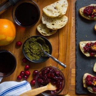 Za'atar Yogurt and Red Wine Cranberry Crostini