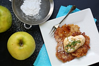 Apple Spice Latkes, Hanukkah, Mint, Apples, Greek Yogurt, Apples, Hanukkah Recipes, Kosher Recipes, Thanksgivukkah Recipes