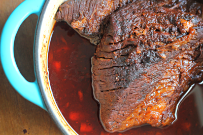 Bourbon and Coffee Braised Brisket with Cranberry Sauce