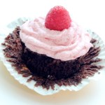 Flourless Chocolate Cupcakes with Raspberry Frosting