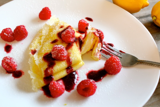 lemon cream cheese gluten free crepes with raspberry sauce
