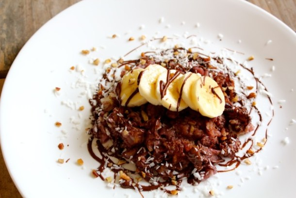 dark chocolate coconut banana vegan matzah brei