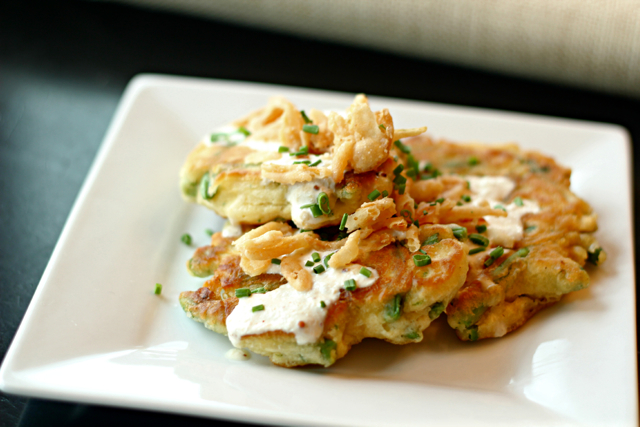 Haricot Verts Latkes with Horseradish Creme Fraische and Homemade French Fried Onions
