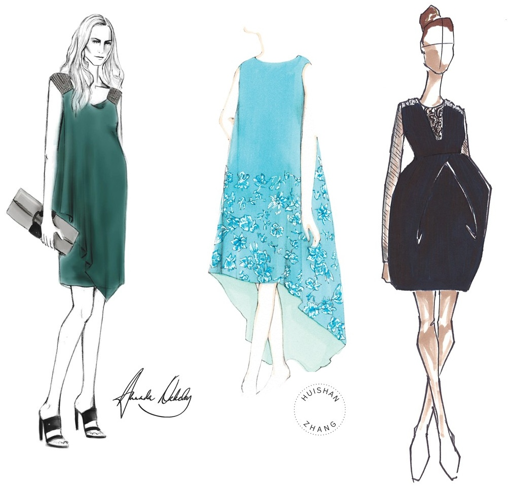 Gambar Designer Nicole Miller Maternity Dress Sketch Archives What Kate Wore
