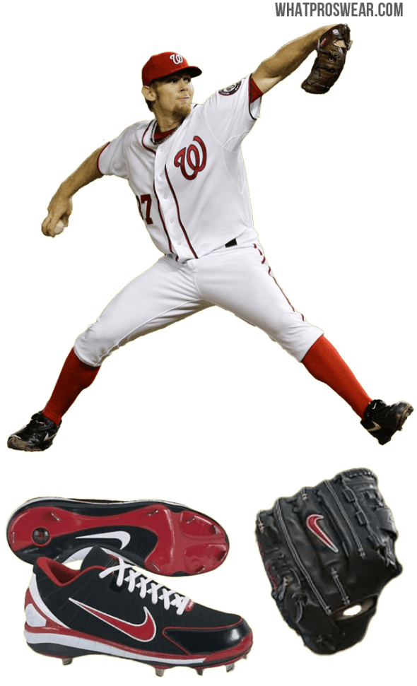 stephen strasburg glove model, stephen strasburg cleats, nike huarache 2k4 low, nike diamond elite pro glove