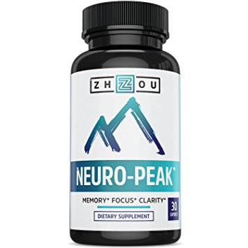 Natural Brain Function Support - Memory, Focus & Clarity Formula - Nootropic Scientifically Formulated for Optimal Performance, by Zhou Nutrition Image