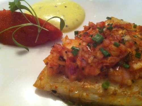 Spice crusted sea bream with coconut chutney