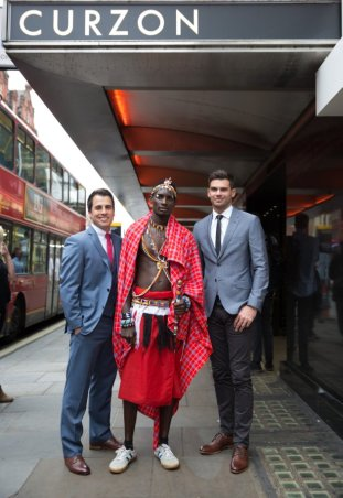 Barney, Maasai cricket captain Sonyanga Ole Ngais and Jimmy Anderson at the premiere of 'Warriors'.