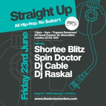 Straight Up – 100% Hip-Hop – No Bullsh*t @ Trapeze Basement, Friday 23 June