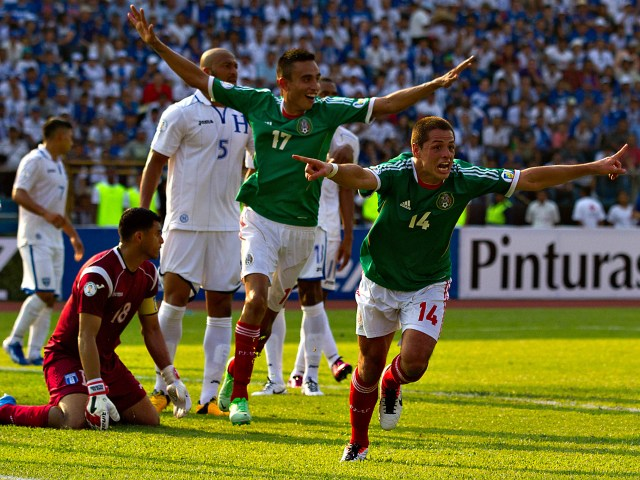 "Javier ""Chicharito "" Hernandez ( Mex ) celebrates his second goal during the match of the CONCACAF final round of Brazil 2014 , between teams from Honduras and Mexico. (Photo / Imago7 / Etzel Espinosa)"