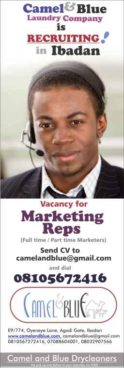 Camel and Blue company is recruiting Marketing Reps in Ibadan,