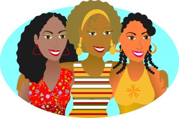 Vector Illustration of 3 friends or sisters.