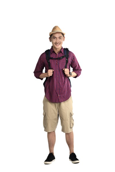 Asian traveler guy wearing backpack and hat isolated over white background