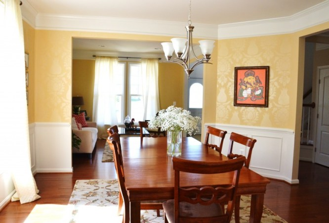 tone-on-tone stencil, Stenciled-wall, transitional-dining-room, Uzbek-Suzani-stencil