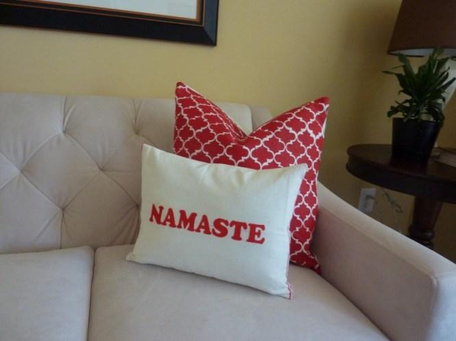 namaste pillow, iron on letters DIY pillow