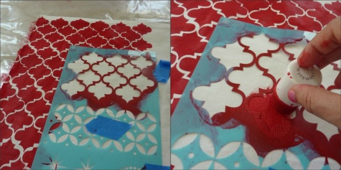 how to stencil fabric, Stenciled Throw Pillow