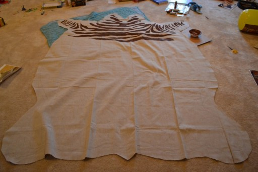 drop cloth zebra rug