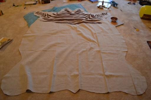 drop cloth zebra rug