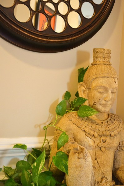 Buddha statue in decor, foyer update