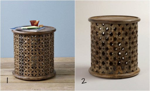 carved wood end table, Neutral Family Room