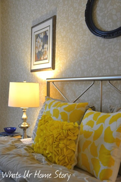 Whats Ur Home Story: Felt Circles Pillow, ginkgo pillows,Sherwin Williams Softer Tan