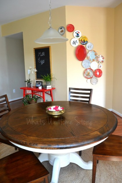 Whats Ur Home Story: Plate wall, diy chalkboard from mirror,Breakfast Nook