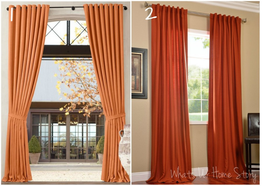 rust colored curtains