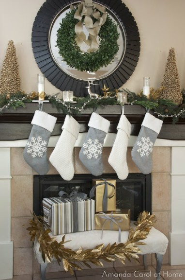 Gold and Silver Christmas Mantel, Easy Christmas Mantel