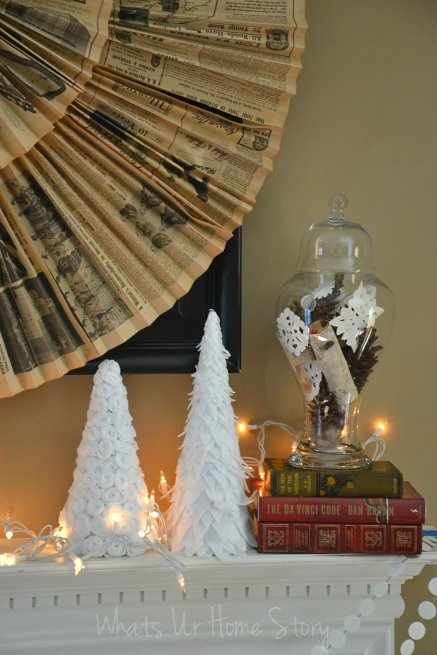 Winter felt tree, diy paper cone trees tutorial, paper cone Christmas tree
