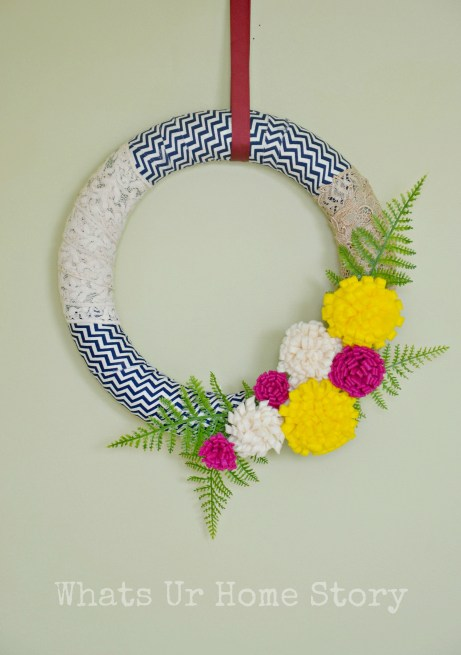 fabric scraps wreath, spring wreath, felt flower wreath