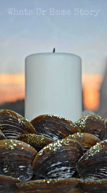 recycle craft,  Clam shell candle holder, how to make a seashell candle holder, seashell candle holder tutorial, seashell crafts, diy beach decor