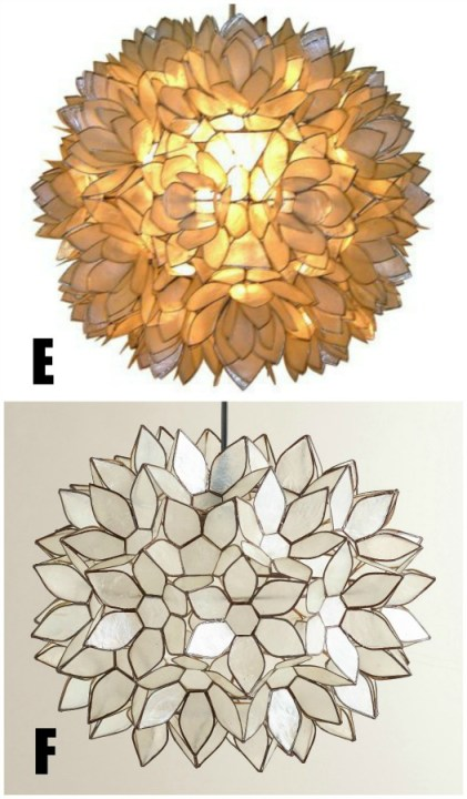 Target Capiz Chandelier Knock offs, Round Capiz light