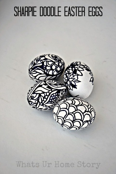 sharpie doodle easter eggs, doodle easter eggs, spring decorating, spring crafts, easter eggs
