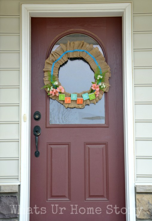 spring porch, burlap spring wreath