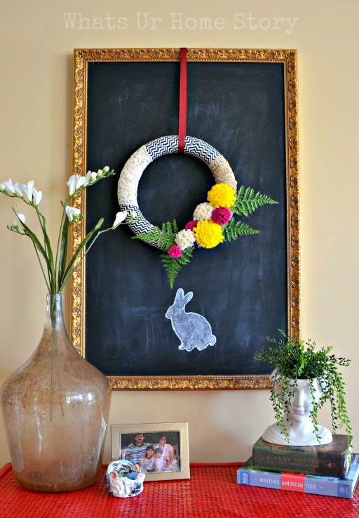 spring vignette, Spring home tour, simple spring decorating, spring crafts, felt flower spring wreath