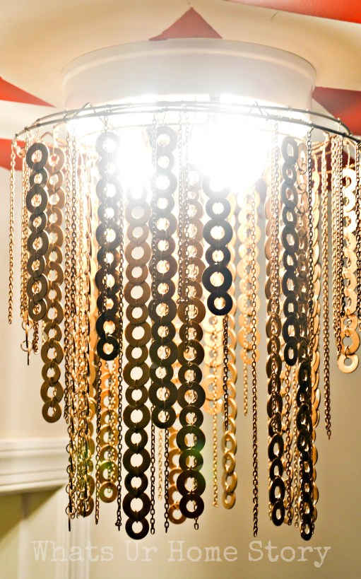 how to make a flat washer chandelier, Rust-oleum Antique Brass Metallic Spray paint