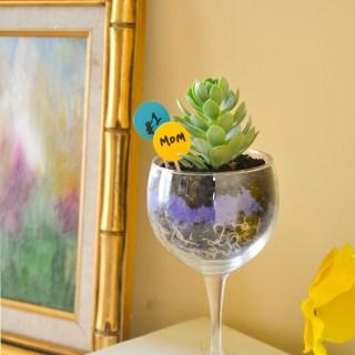 wine glass planter