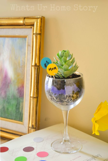 wine glass planter, mother's day gift ideas