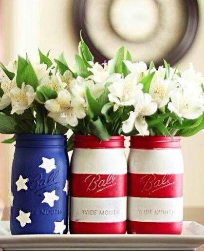 patriotic mason jars, Simple & Easy Patriotic Decor
