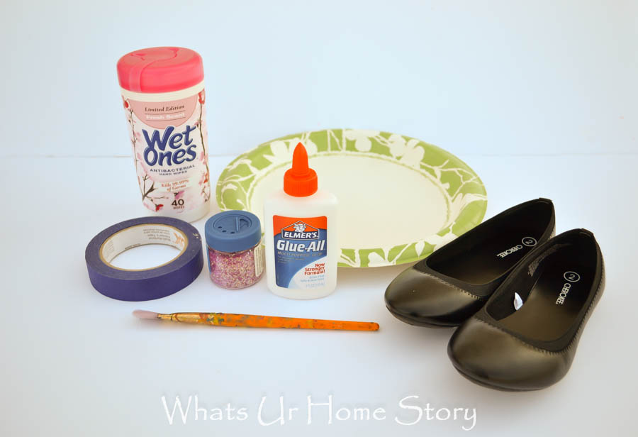 glitter shoes with elmer's glue