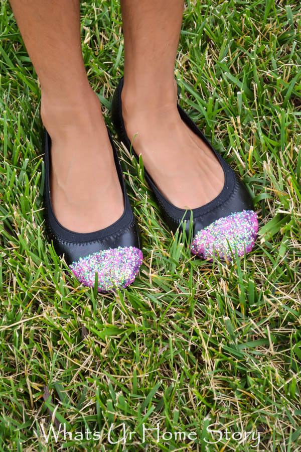 how to make glitter cap toe flats