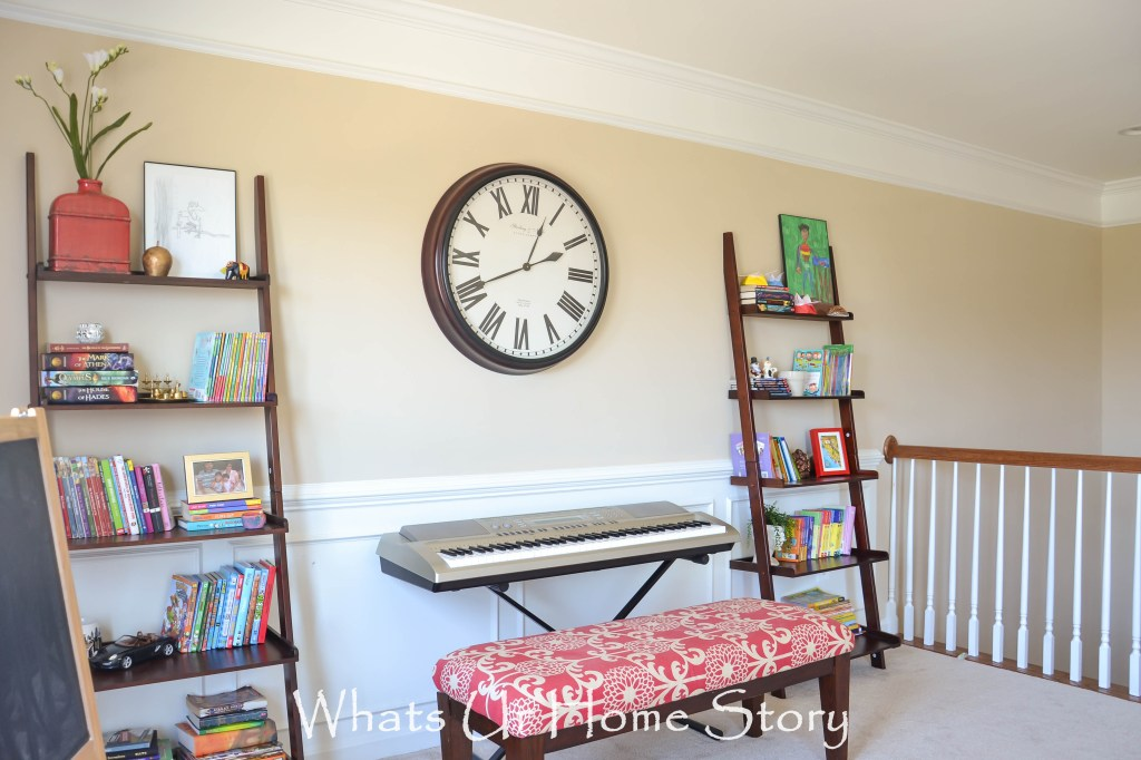 Decorating with ladder shelves , loft area by the stairs, kids reading nook, kids library area, kids playroom, ladder shelves decorating