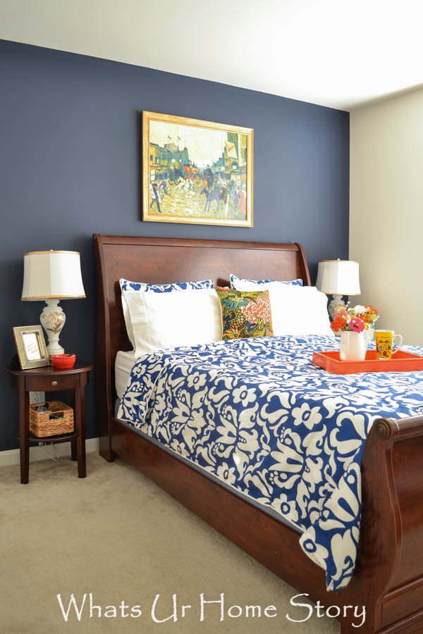 Navy and coral bedroom whats ur home story for Coral bedroom decor