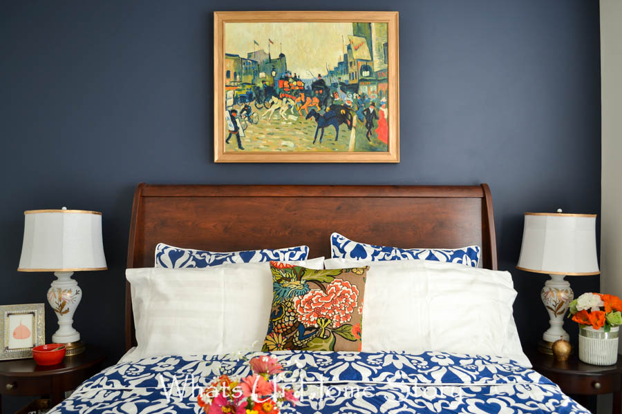 navy and coral bedroom ideas