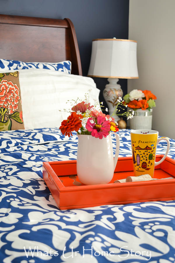 navy and coral bedroom makeover