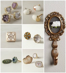 Anthropologie knobs and wall hooks