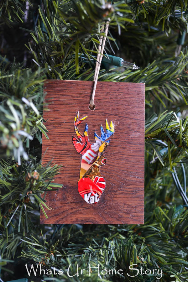 Woodland Reindeer Ornaments from floor plank sample and candy wrappers