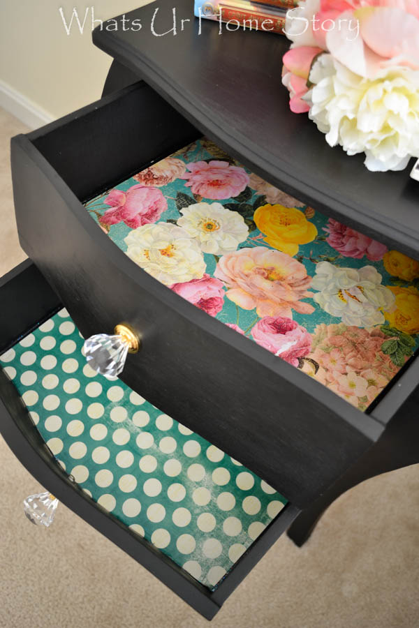Update an old side table with black chalk paint, craft paper liners, and crystal knobs