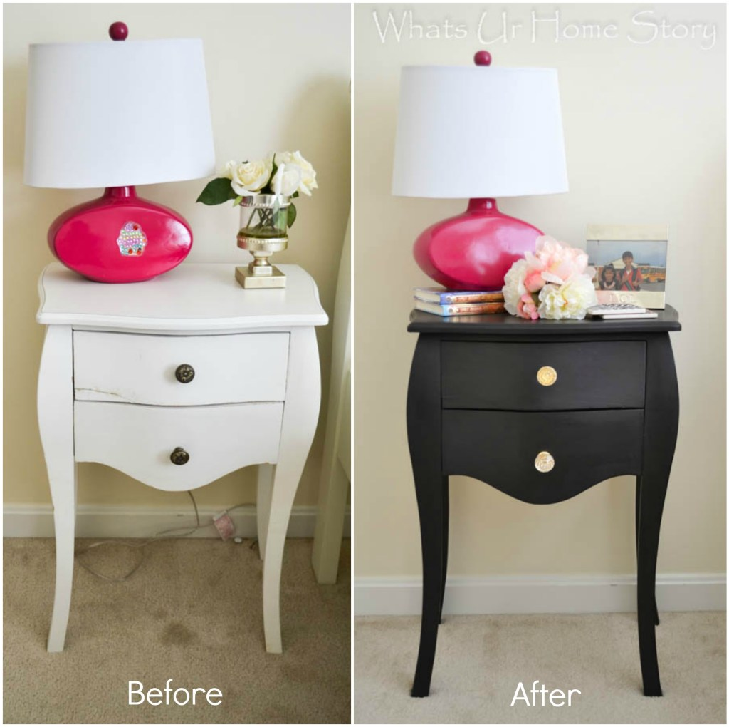 chalky finish paint side table makeover